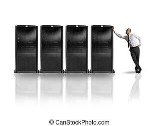 Businessman with server - Businessman in datacenter server...