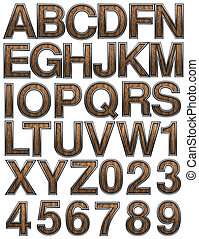 wooden alphabet set on white