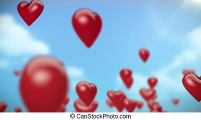 Heart-Shaped Ballons Flying (Red) - Loop