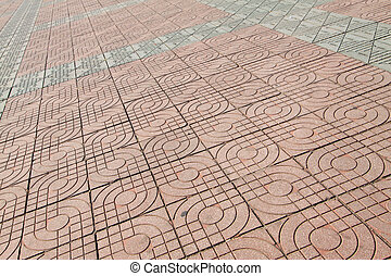 cement floor tile - pink cement floor tile, closeup of...