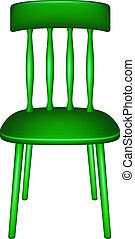 Wooden chair in green design