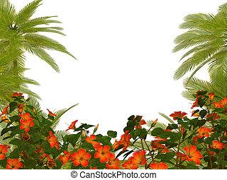 Palm trees und hibiscus flowers frame