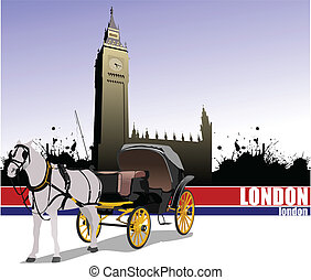 Vintage carriage and horse Vector - Vintage carriage and...