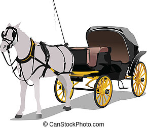 Vintage carriage and horse Vector illustration