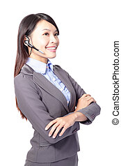 woman customer support operator - beautiful woman customer...