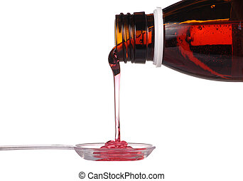 Syrup - Bottle with medicine and spoon isolated on white