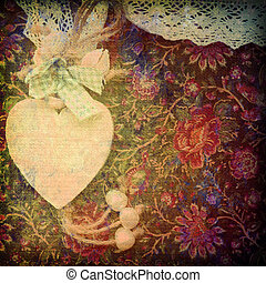 heart card, antique background, canvas texture