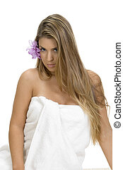 posing sexy blonde woman in towel