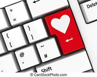 Computer keyboard love - Computer keyboard with love key,...