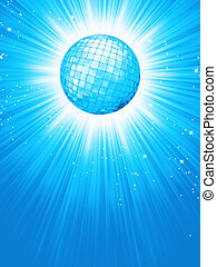 Blue disco rays with stars. EPS 8 vector file included