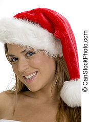 posing smiling lady with santa cap