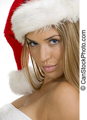 sexy young woman posing with santa cap