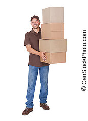 Happy Man Holding Stack Of Cardboxes On White Background