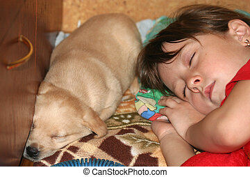 Fell asleep together - The girl and favourite puppy fell...