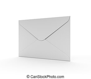White Mail Envelope Isolated on the White Background Contact...