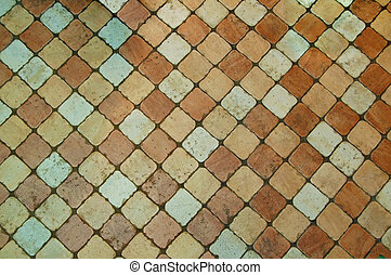 Grunge Tiled Floor Background with White, Yellow and Brown Tiles
