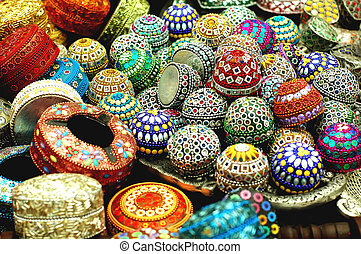 handicraft - display of jewellery box for sale at the market