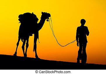 Rajasthan village. Silhouette of a man and camel at sunset...