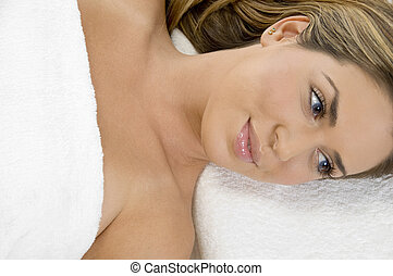 front view of relaxing lady