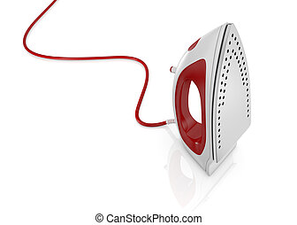 steam iron - one steam iron on white background (3d render)