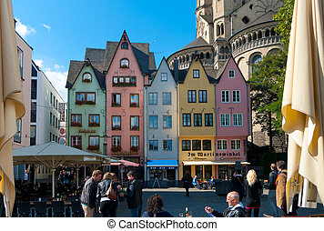 colorful houses - Colorful facade of houses at St. Martin's...