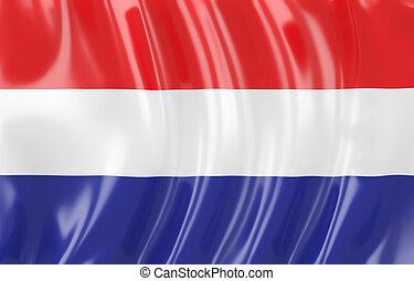 Netherland flag - 3d illustration of Netherland flag. Wavy...