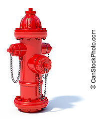 Fire hydrant - 3d illustration of red fire hydrant isolated...