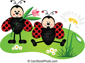 Two cute ladybugs in garden - Scalable vectorial image...