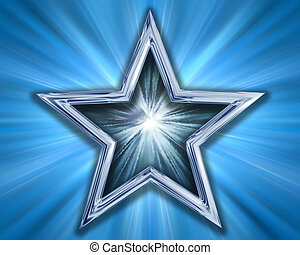 Star on blue background - Illustration of a silver blue star...