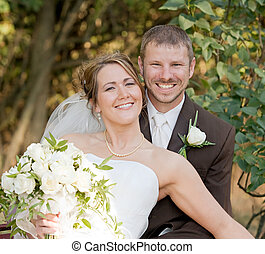 Wedding Day - Happy Couple on Their Wedding Day