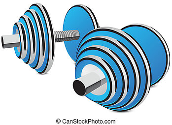 dumbbells vector illustration in blue with shadow eps 8