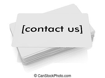 contact us - one stack of business cards with the text:...