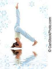 salamba sirsasana supported headstand - sporty girl...