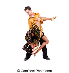 two young modern acrobats dancing - two young modern...