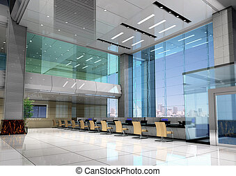 3d modern business hall - modern design interior of business...