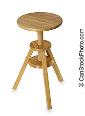 Rotatable stool - Wooden stool isolated on white background