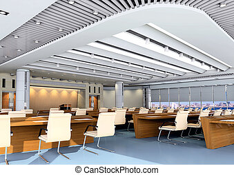 3d meeting room - the computer generated 3d image of the...
