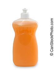 Liquid detergent bottle for dish washing isolated on white...