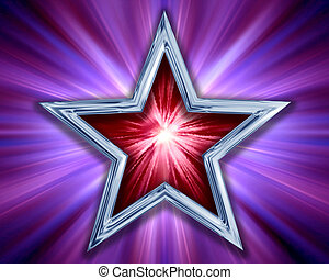 Star on purple background - Illustration of a red and silver...
