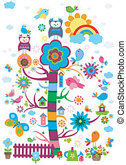 whimsy garden with birds and tree