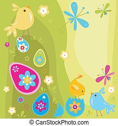 easter chicks and eggs design