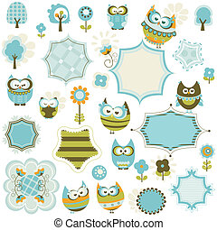 owls and frames - set of owls and frames
