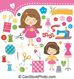 sewing girls - cute girls having fun sewing