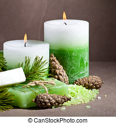 Green spa still life - Spa still life with spruce twig and...