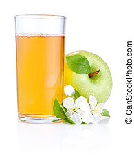 Glass of apple juice, green apples with drops and flowers...