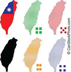 Taiwan - Vector illustration pixel map of Taiwan.
