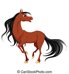 Brown horse - Funny brown horse with a black mane and tail