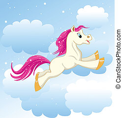 little Pony - beautiful little pony running on clouds