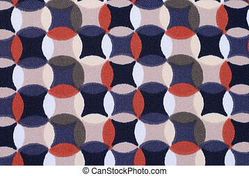 Geometric retro pattern textile with circles in 70s style....