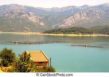 fish farm in Turkey - trout fish farm on the lake in...